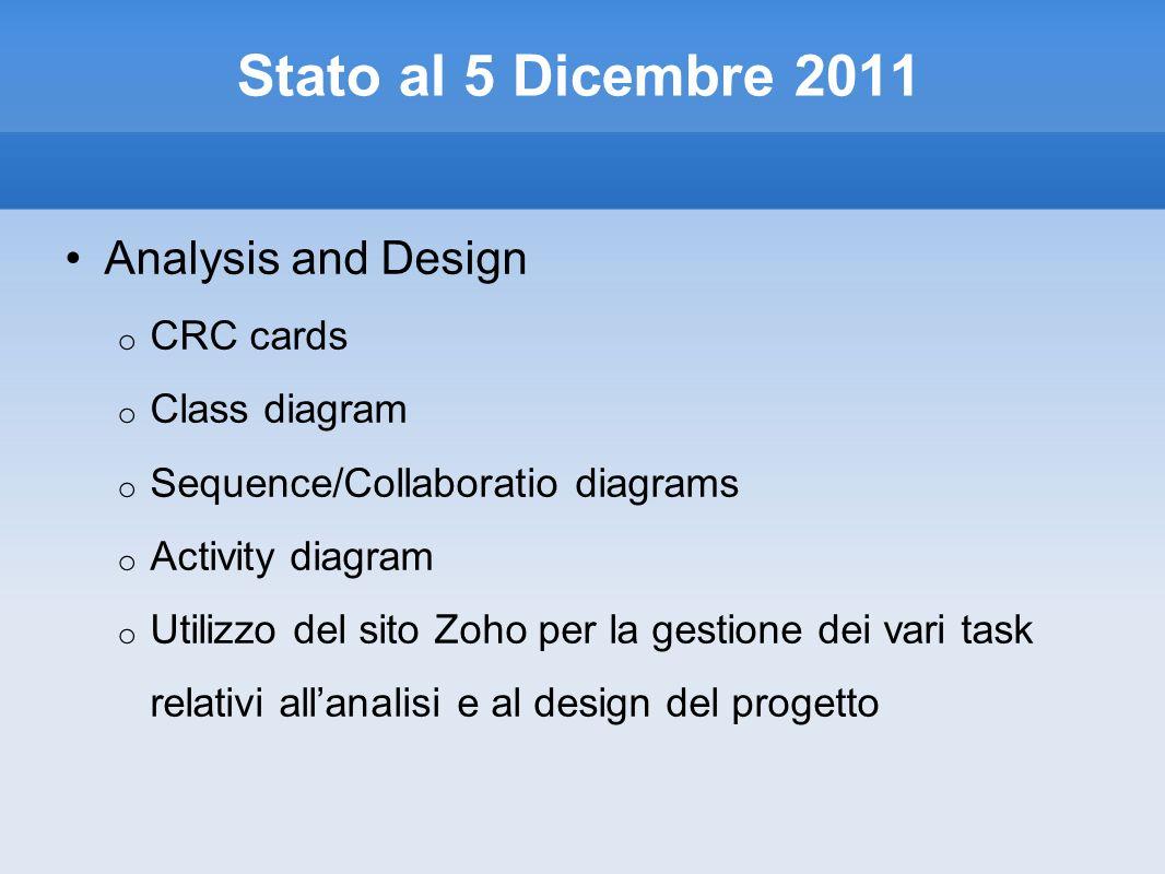 Stato al 5 Dicembre 2011 Analysis and Design o CRC cards o Class diagram o Sequence/Collaboratio diagrams o Activity diagram o Utilizzo del sito Zoho per la gestione dei vari task relativi allanalisi e al design del progetto