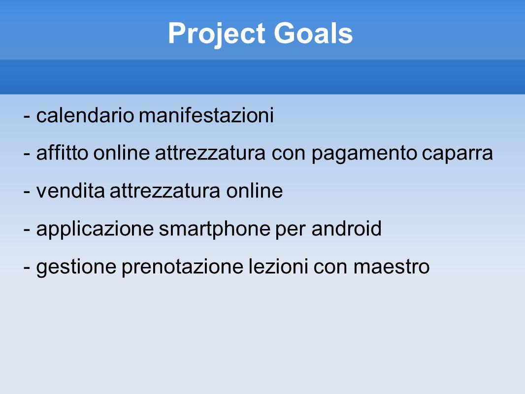 Project Goals - calendario manifestazioni - affitto online attrezzatura con pagamento caparra - vendita attrezzatura online - applicazione smartphone per android - gestione prenotazione lezioni con maestro