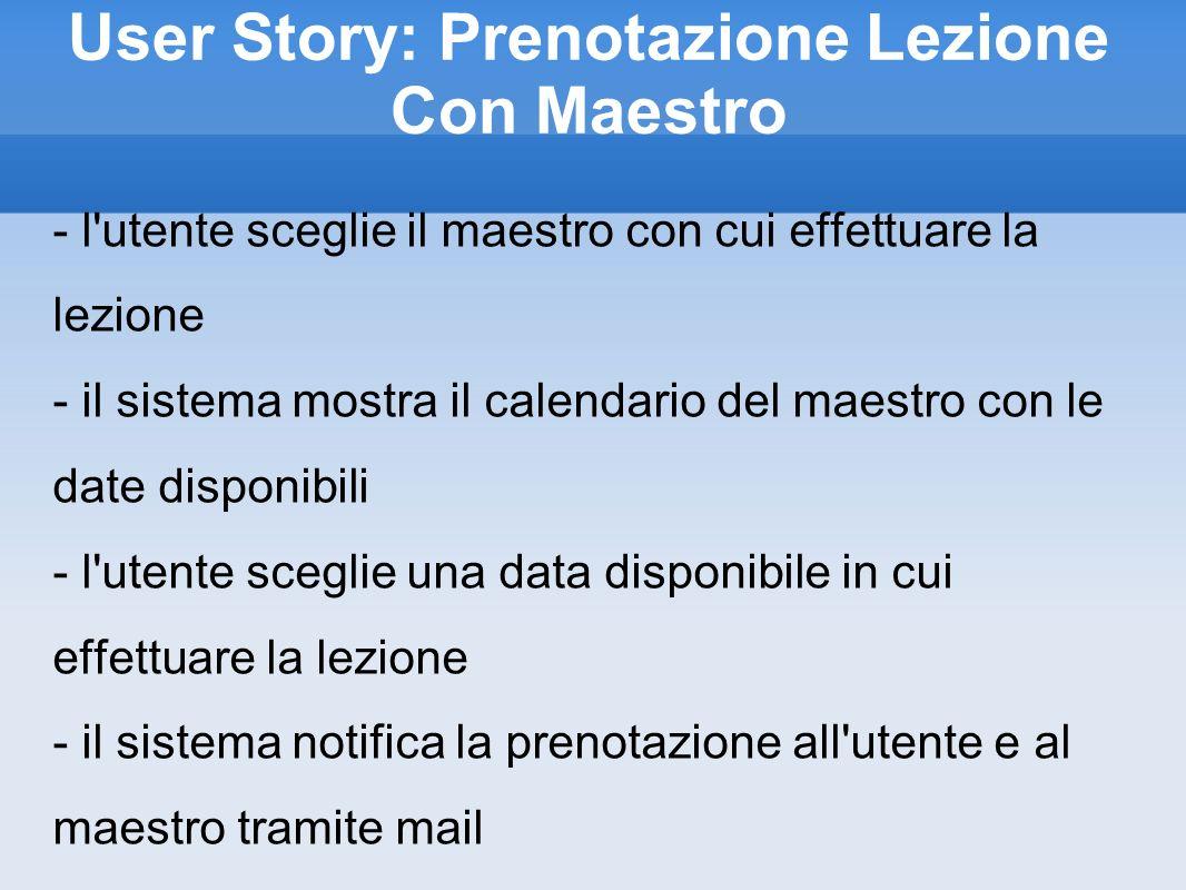 User Story: Prenotazione Lezione Con Maestro - l'utente sceglie il maestro con cui effettuare la lezione - il sistema mostra il calendario del maestro