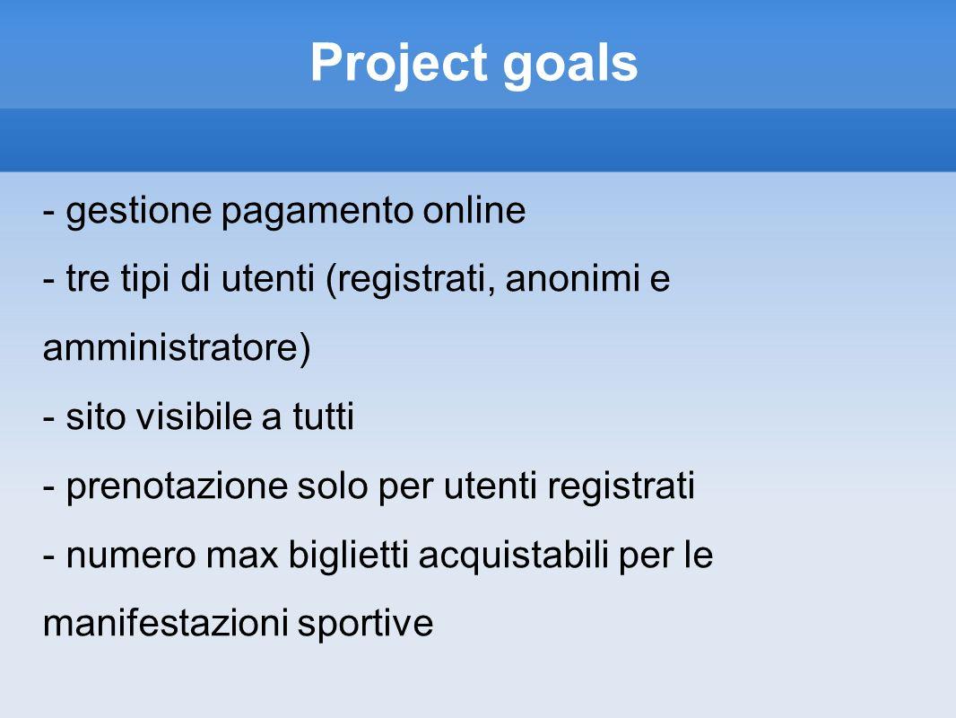 Project goals - gestione pagamento online - tre tipi di utenti (registrati, anonimi e amministratore) - sito visibile a tutti - prenotazione solo per utenti registrati - numero max biglietti acquistabili per le manifestazioni sportive