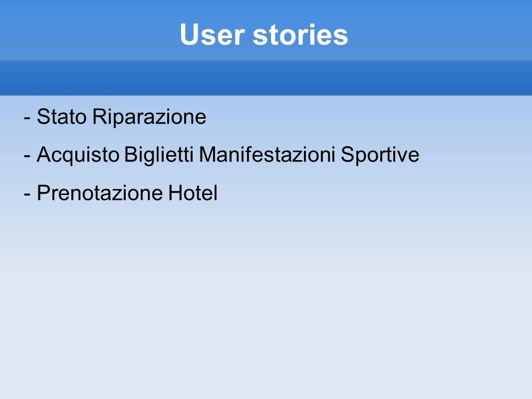 User stories - Stato Riparazione - Acquisto Biglietti Manifestazioni Sportive - Prenotazione Hotel
