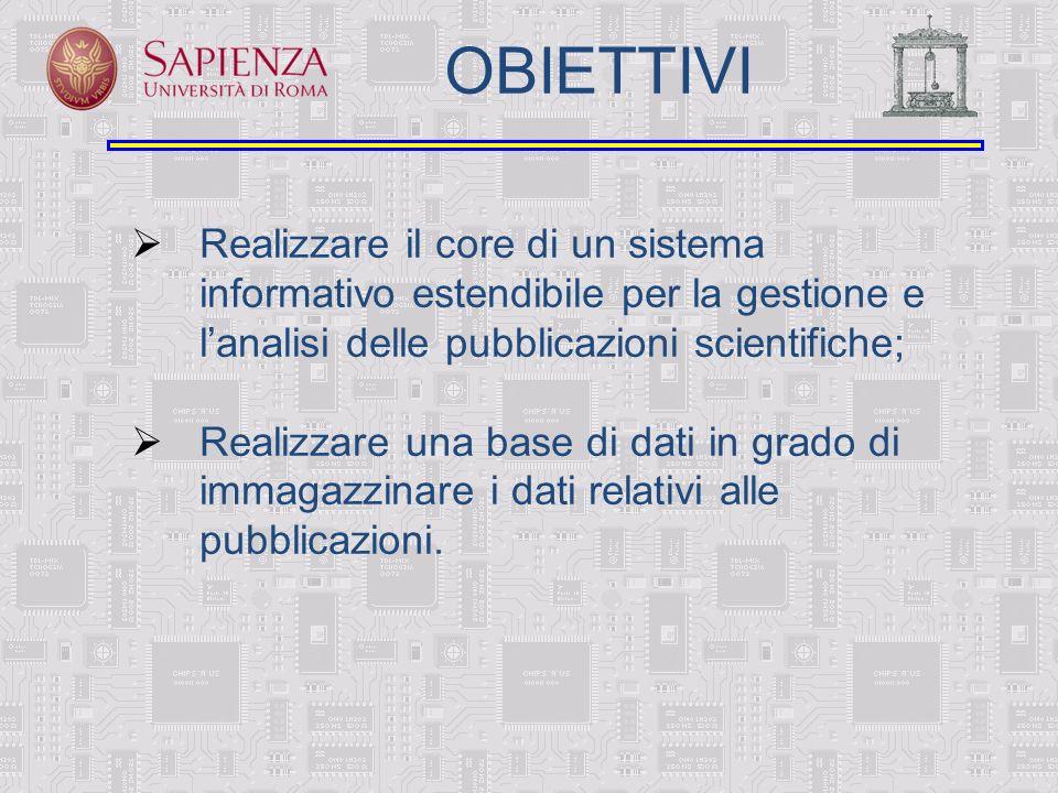 OBIETTIVI Realizzare il core di un sistema informativo estendibile per la gestione e lanalisi delle pubblicazioni scientifiche; Realizzare una base di