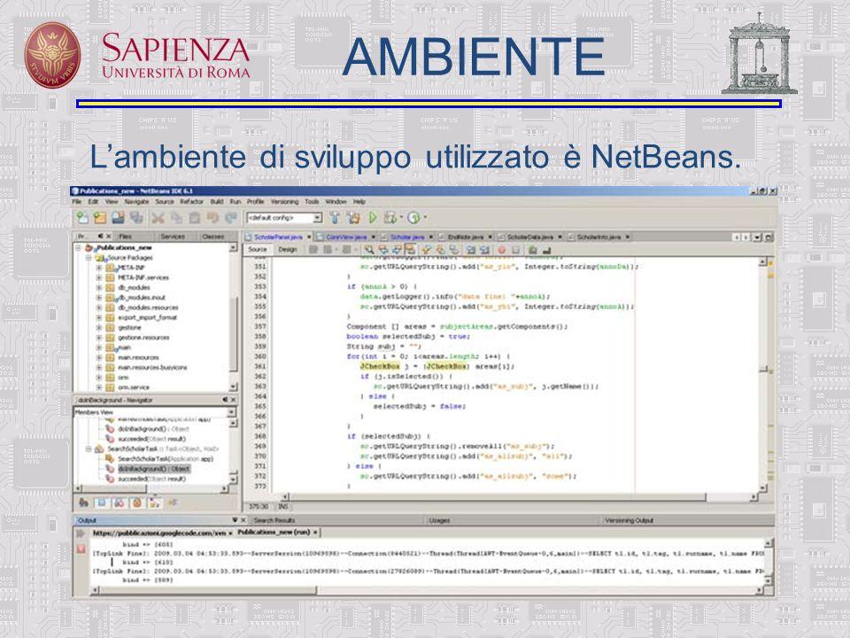 Lambiente di sviluppo utilizzato è NetBeans. AMBIENTE