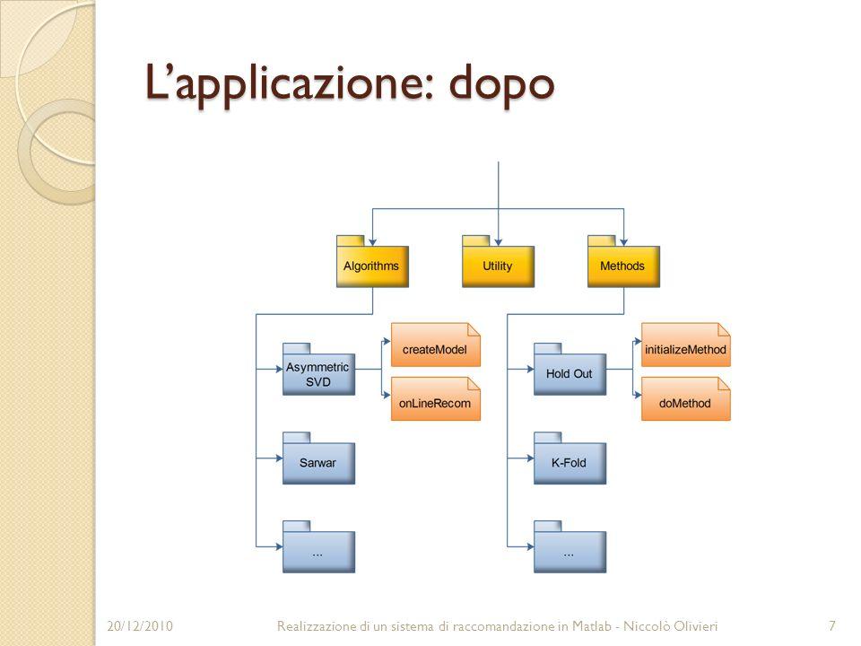 Loggetto Recommendation » R = Recommendation(urm.mat, MovieAvg); » R.createModel(); » List1 = R.onLineRecom(UserProfile1); » List2 = R.onLineRecom(UserProfile2); » List = R.antireshuffling(); 20/12/20108Realizzazione di un sistema di raccomandazione in Matlab - Niccolò Olivieri