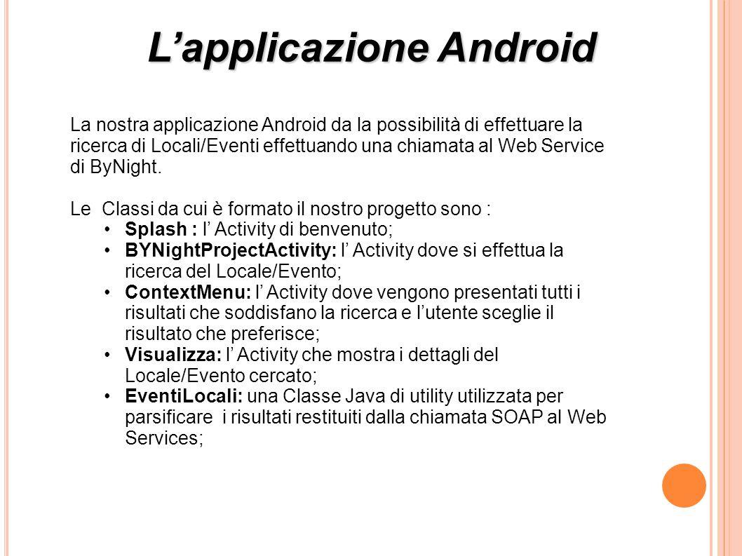 Lapplicazione Android La nostra applicazione Android da la possibilità di effettuare la ricerca di Locali/Eventi effettuando una chiamata al Web Service di ByNight.