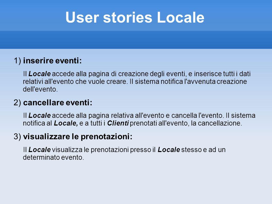 User stories Locale 1) inserire eventi: Il Locale accede alla pagina di creazione degli eventi, e inserisce tutti i dati relativi all'evento che vuole