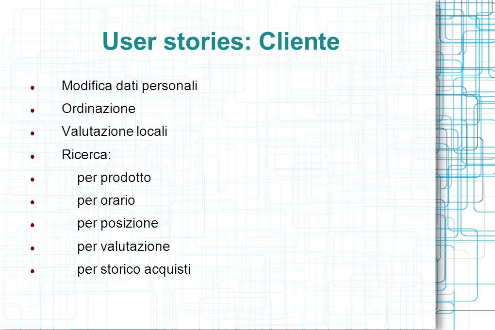 User stories: Cliente Modifica dati personali Ordinazione Valutazione locali Ricerca: per prodotto per orario per posizione per valutazione per storico acquisti