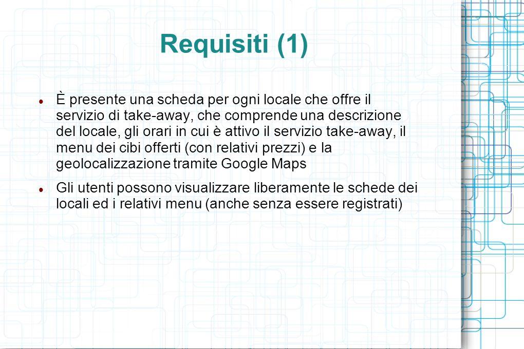 Requisiti (1) È presente una scheda per ogni locale che offre il servizio di take-away, che comprende una descrizione del locale, gli orari in cui è attivo il servizio take-away, il menu dei cibi offerti (con relativi prezzi) e la geolocalizzazione tramite Google Maps Gli utenti possono visualizzare liberamente le schede dei locali ed i relativi menu (anche senza essere registrati)