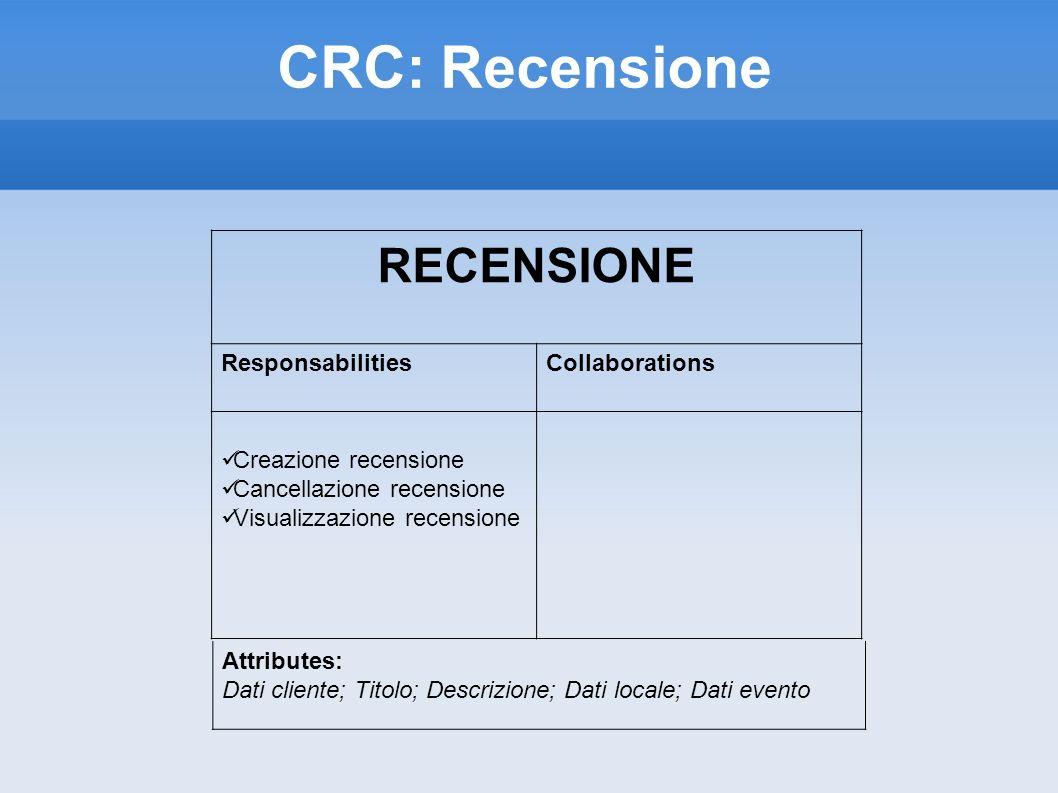 CRC: Recensione RECENSIONE ResponsabilitiesCollaborations Creazione recensione Cancellazione recensione Visualizzazione recensione Attributes: Dati cliente; Titolo; Descrizione; Dati locale; Dati evento