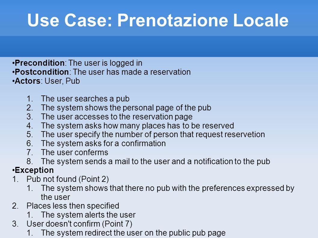CRC: Prenotazione PRENOTAZIONE ResponsabilitiesCollaborations Invia notifica Creazione prenotazione Cancellazione prenotazione Visualizzazione Attributes: Dati cliente; Data; Ora; Numero posti; Dati locale; Dati evento