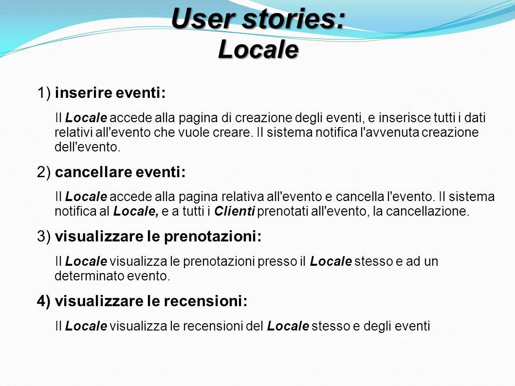 User stories: Locale 1) inserire eventi: Il Locale accede alla pagina di creazione degli eventi, e inserisce tutti i dati relativi all evento che vuole creare.