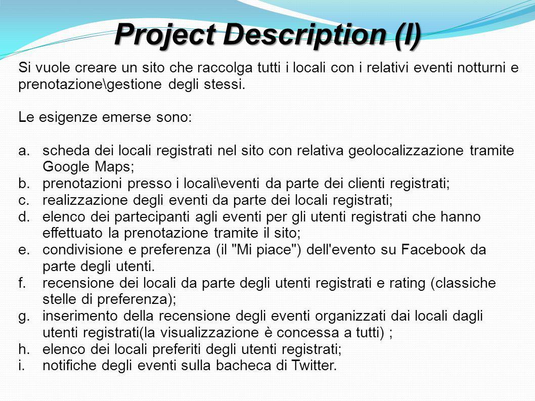 Project Description (I) Si vuole creare un sito che raccolga tutti i locali con i relativi eventi notturni e prenotazione\gestione degli stessi.