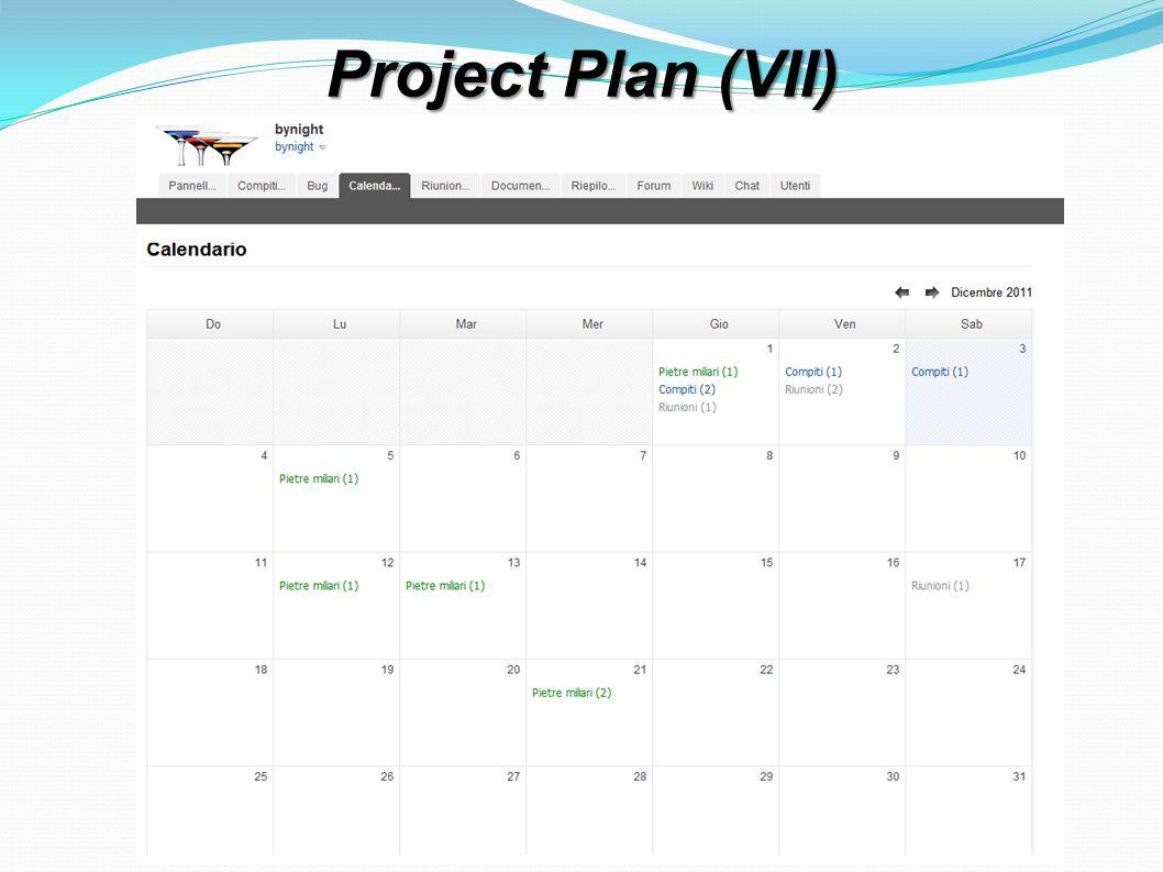 Project Plan (VII)