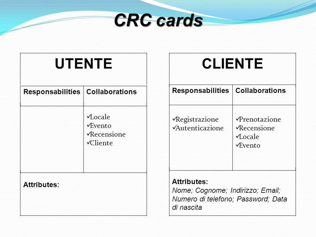 CRC cards UTENTE ResponsabilitiesCollaborations Locale Evento Recensione Cliente Attributes: CLIENTE ResponsabilitiesCollaborations Registrazione Autenticazione Prenotazione Recensione Locale Evento Attributes: Nome; Cognome; Indirizzo; Email; Numero di telefono; Password; Data di nascita