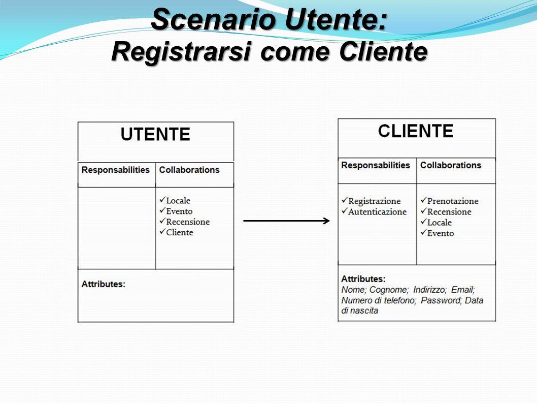 Scenario Utente: Registrarsi come Cliente