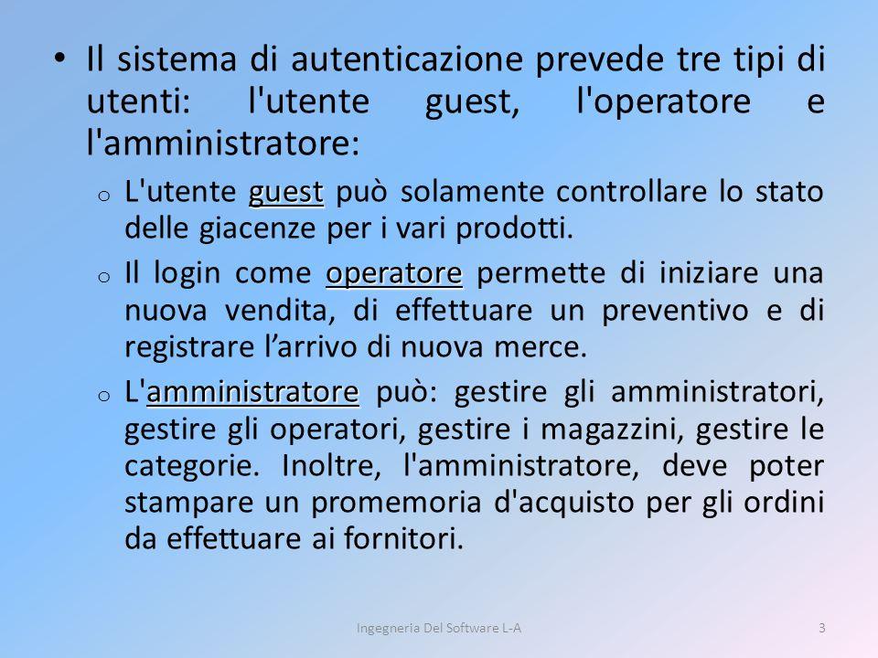 Il sistema di autenticazione prevede tre tipi di utenti: l utente guest, l operatore e l amministratore: guest o L utente guest può solamente controllare lo stato delle giacenze per i vari prodotti.