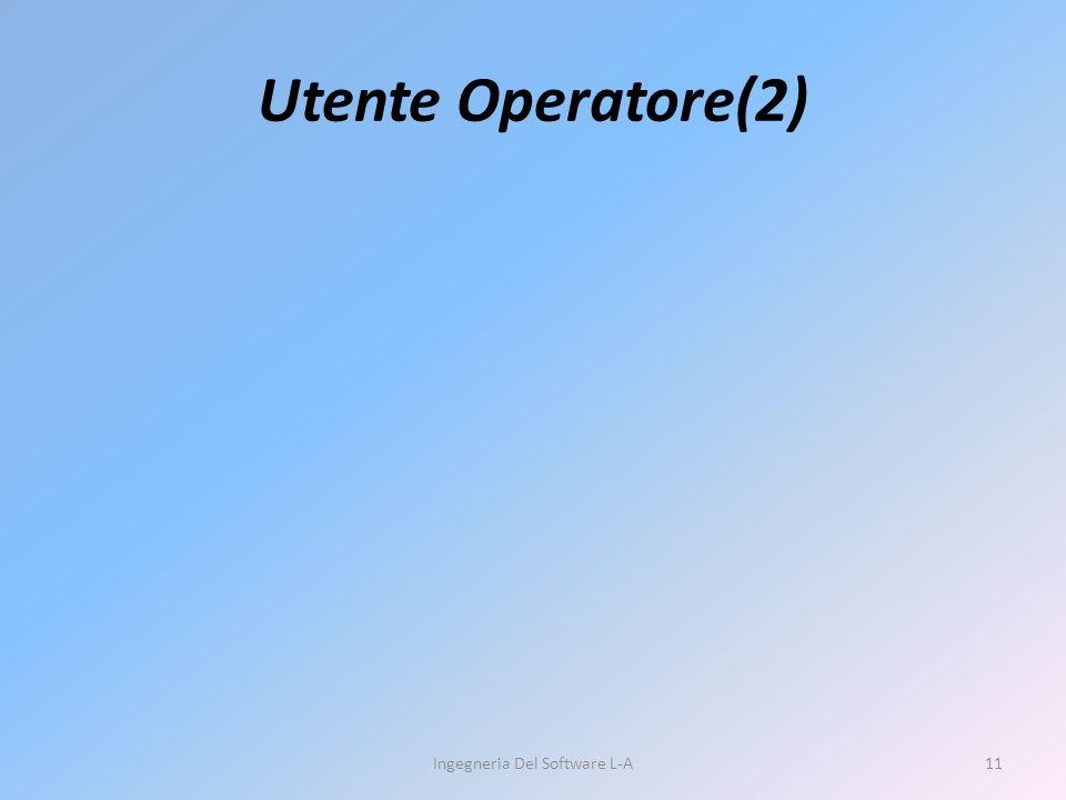 Utente Operatore(2) Ingegneria Del Software L-A11