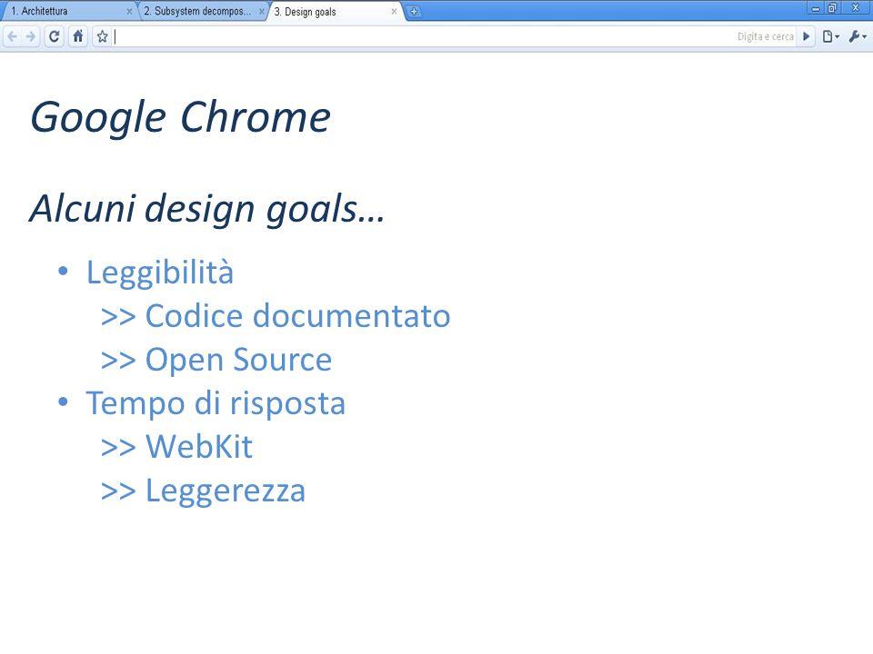 Google Chrome Leggibilità >> Codice documentato >> Open Source Tempo di risposta >> WebKit >> Leggerezza Alcuni design goals…