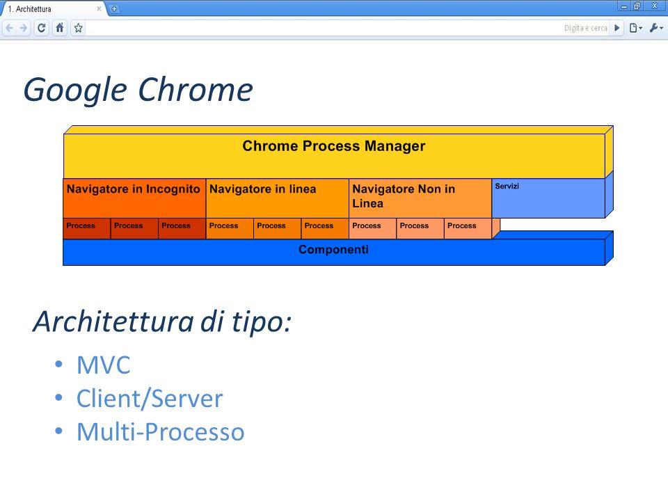 Google Chrome MVC Client/Server Multi-Processo Architettura di tipo: