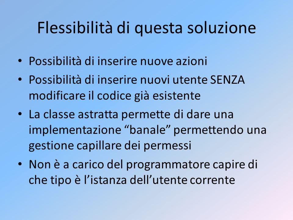 Flessibilità di questa soluzione Possibilità di inserire nuove azioni Possibilità di inserire nuovi utente SENZA modificare il codice già esistente La