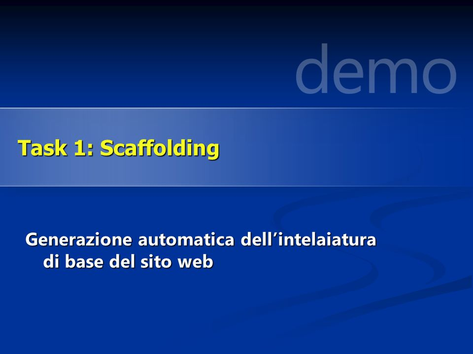 Generazione automatica dellintelaiatura di base del sito web Task 1: Scaffolding