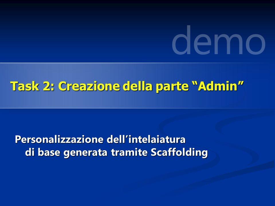 Personalizzazione dellintelaiatura di base generata tramite Scaffolding Task 2: Creazione della parte Admin