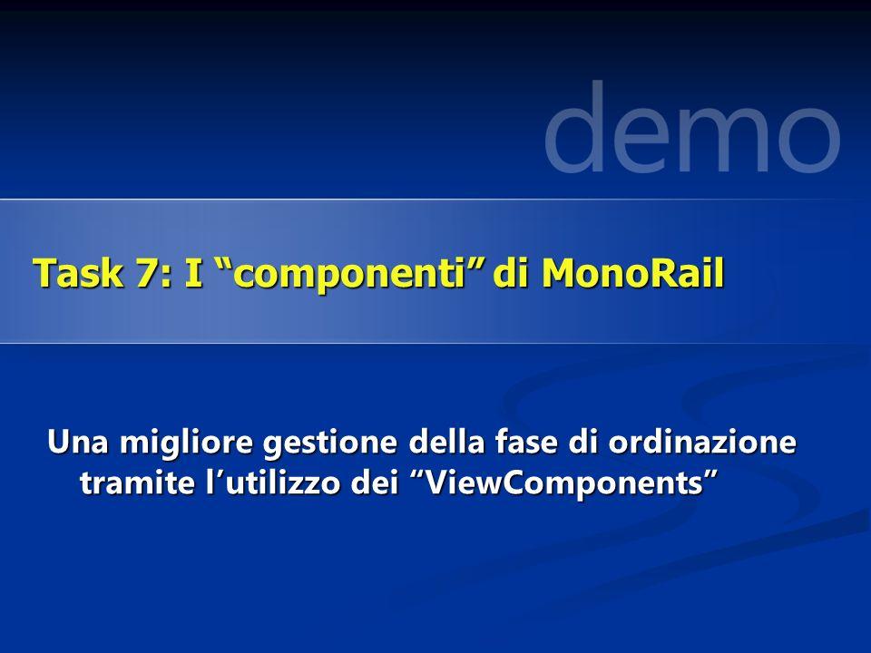 Una migliore gestione della fase di ordinazione tramite lutilizzo dei ViewComponents Task 7: I componenti di MonoRail