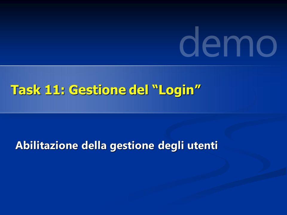 Abilitazione della gestione degli utenti Task 11: Gestione del Login
