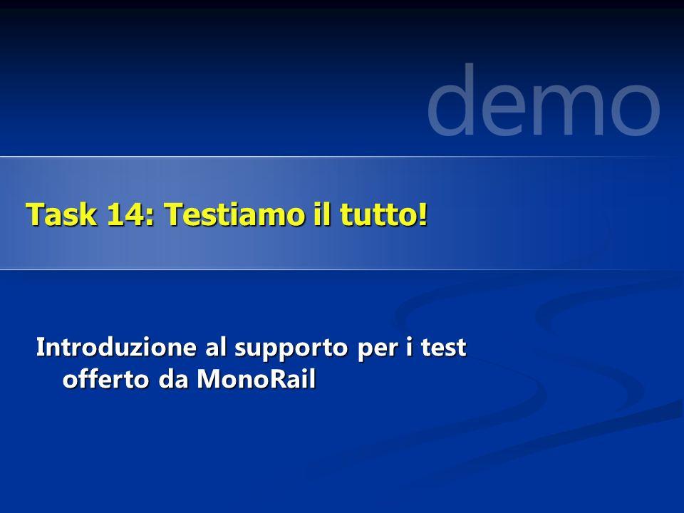 Introduzione al supporto per i test offerto da MonoRail Task 14: Testiamo il tutto!