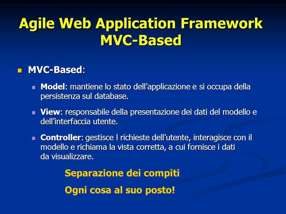 Agile Web Application Framework MVC-Based MVC-Based: MVC-Based: Model: mantiene lo stato dellapplicazione e si occupa della persistenza sul database.
