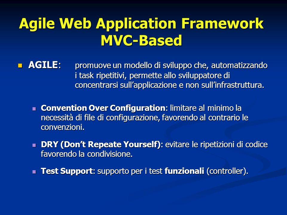 Agile Web Application Framework MVC-Based AGILE: promuove un modello di sviluppo che, automatizzando i task ripetitivi, permette allo sviluppatore di concentrarsi sullapplicazione e non sullinfrastruttura.