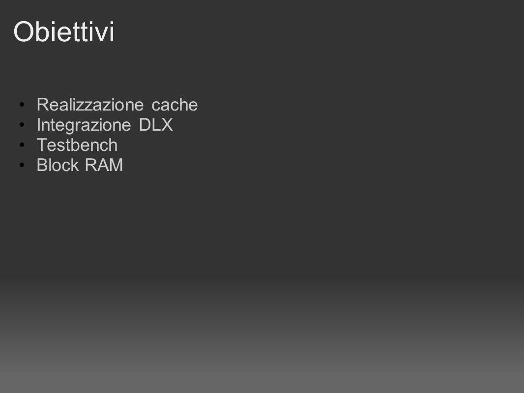Obiettivi Realizzazione cache Integrazione DLX Testbench Block RAM