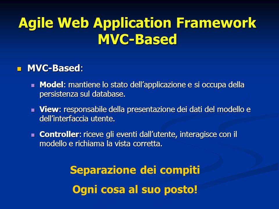Agile Web Application Framework MVC-Based MVC-Based: http://dotnetmarche.org/home/index.rails MVC-Based: http://dotnetmarche.org/home/index.railshttp://dotnetmarche.org/home/index.rails - home: controller - index: action (metodo) del controller home del controller home - index: view associata al controller home al controller home