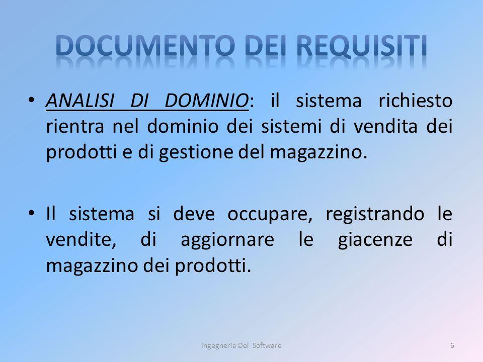 ANALISI DI DOMINIO: il sistema richiesto rientra nel dominio dei sistemi di vendita dei prodotti e di gestione del magazzino. Il sistema si deve occup