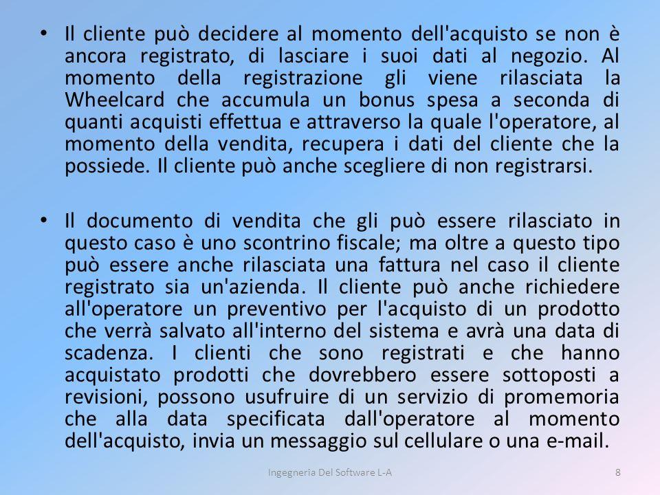 Il cliente può decidere al momento dell'acquisto se non è ancora registrato, di lasciare i suoi dati al negozio. Al momento della registrazione gli vi