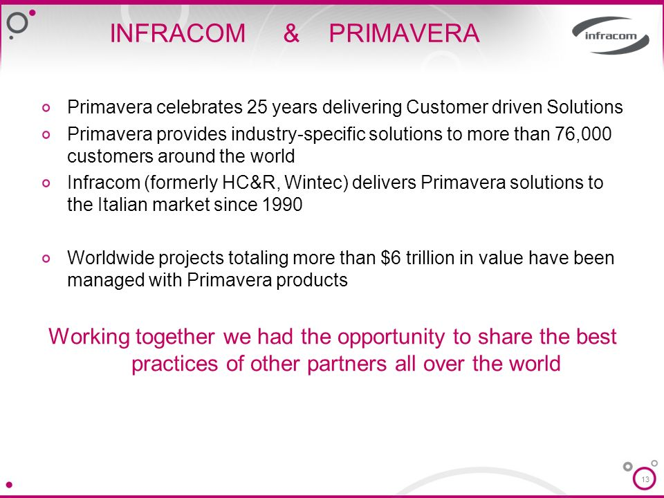 13 INFRACOM & PRIMAVERA Primavera celebrates 25 years delivering Customer driven Solutions Primavera provides industry-specific solutions to more than 76,000 customers around the world Infracom (formerly HC&R, Wintec) delivers Primavera solutions to the Italian market since 1990 Worldwide projects totaling more than $6 trillion in value have been managed with Primavera products Working together we had the opportunity to share the best practices of other partners all over the world