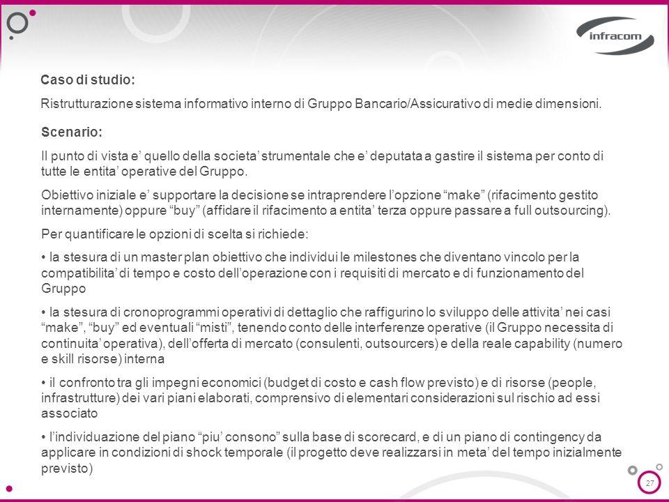 27 Caso di studio: Ristrutturazione sistema informativo interno di Gruppo Bancario/Assicurativo di medie dimensioni. Scenario: Il punto di vista e que
