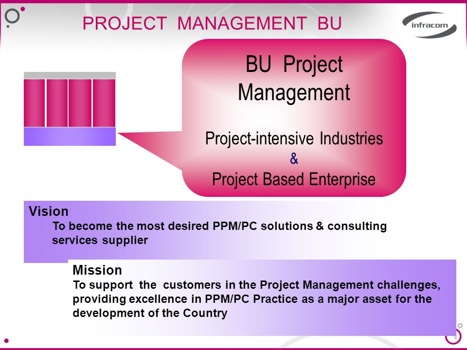 9 PROJECT MANAGEMENT BU Vision To become the most desired PPM/PC solutions & consulting services supplier BU Project Management Project-intensive Industries & Project Based Enterprise Mission To support the customers in the Project Management challenges, providing excellence in PPM/PC Practice as a major asset for the development of the Country