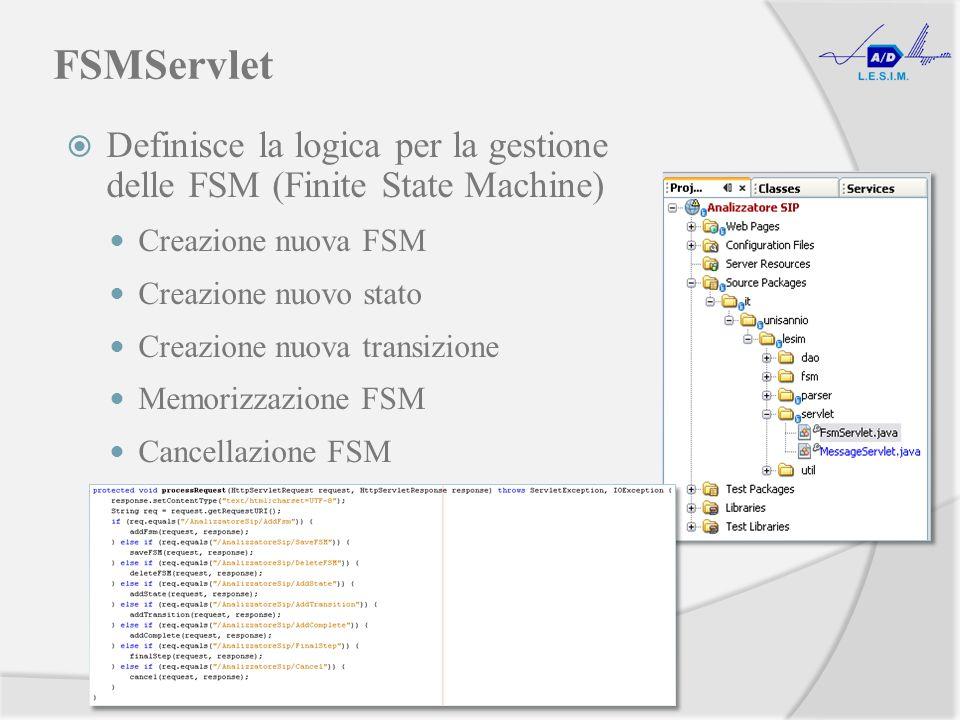 FSMServlet Definisce la logica per la gestione delle FSM (Finite State Machine) Creazione nuova FSM Creazione nuovo stato Creazione nuova transizione Memorizzazione FSM Cancellazione FSM