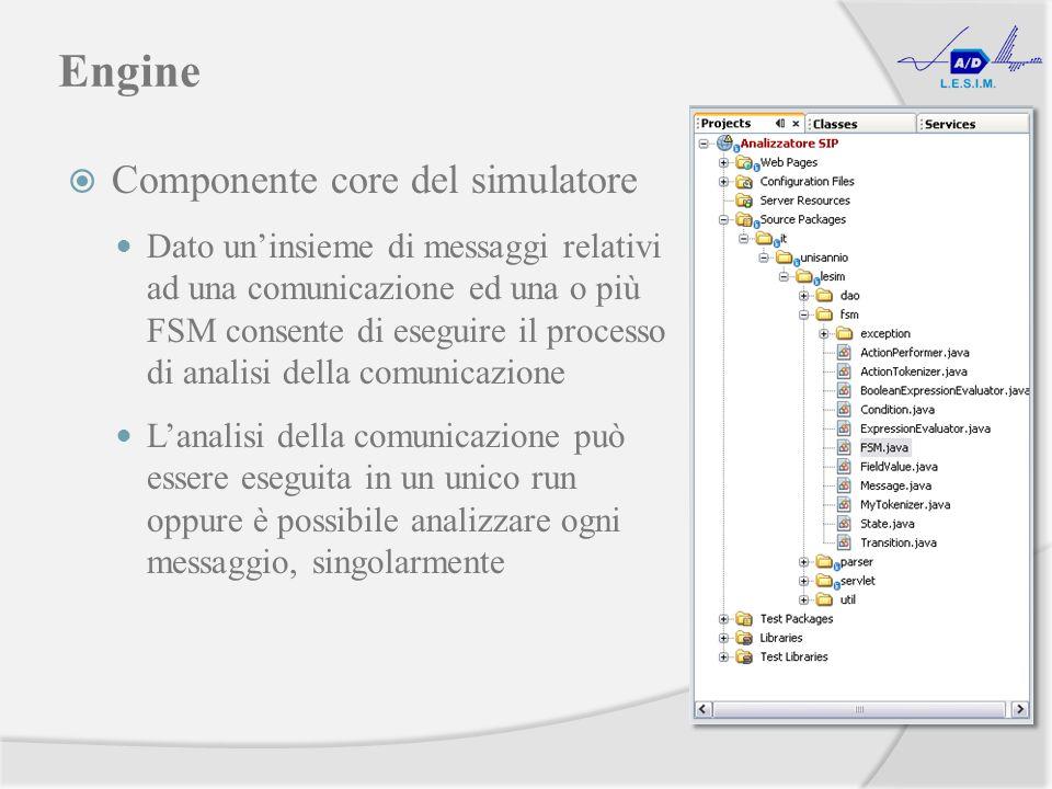 Engine Componente core del simulatore Dato uninsieme di messaggi relativi ad una comunicazione ed una o più FSM consente di eseguire il processo di analisi della comunicazione Lanalisi della comunicazione può essere eseguita in un unico run oppure è possibile analizzare ogni messaggio, singolarmente
