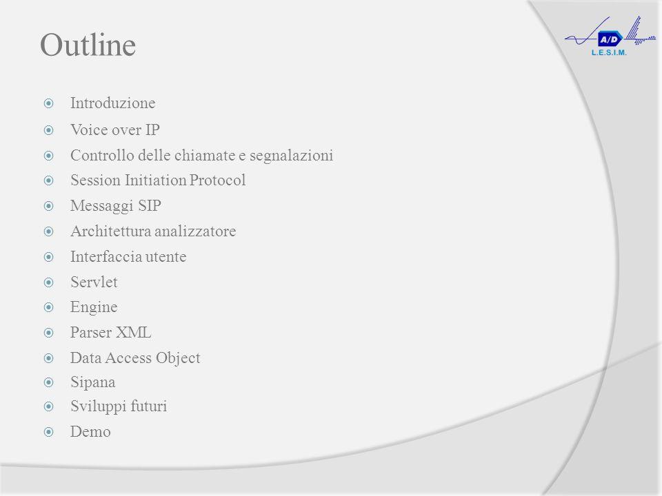 Outline Introduzione Voice over IP Controllo delle chiamate e segnalazioni Session Initiation Protocol Messaggi SIP Architettura analizzatore Interfaccia utente Servlet Engine Parser XML Data Access Object Sipana Sviluppi futuri Demo