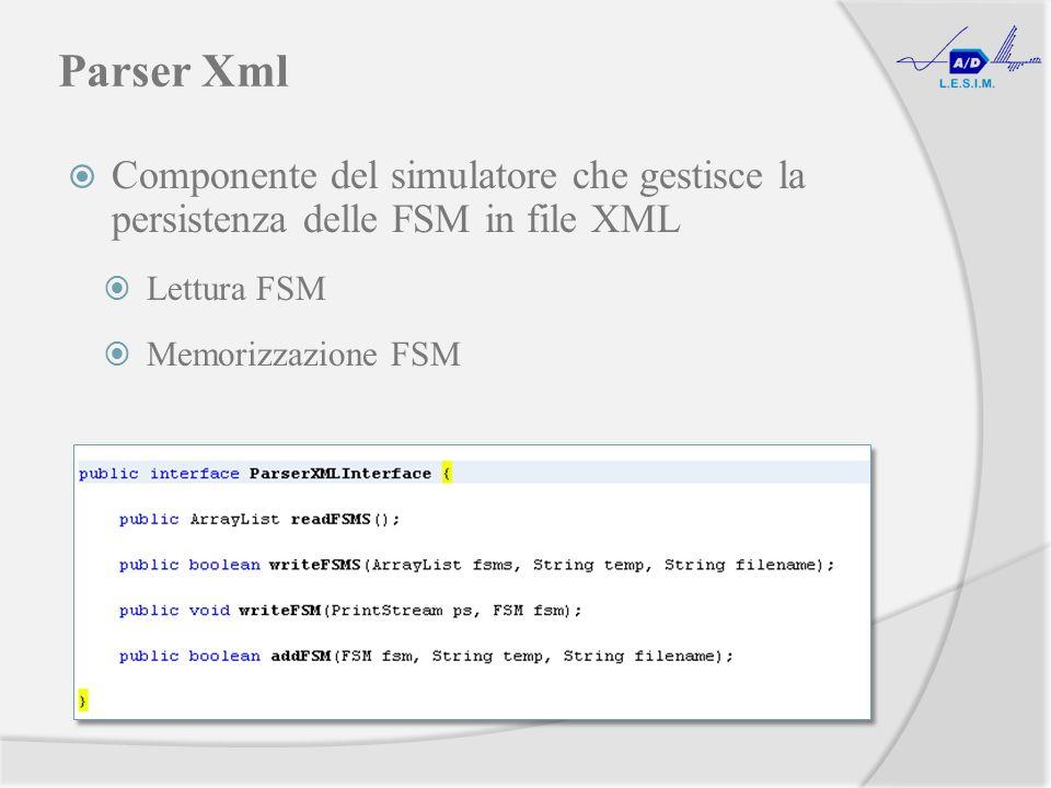 Parser Xml Componente del simulatore che gestisce la persistenza delle FSM in file XML Lettura FSM Memorizzazione FSM