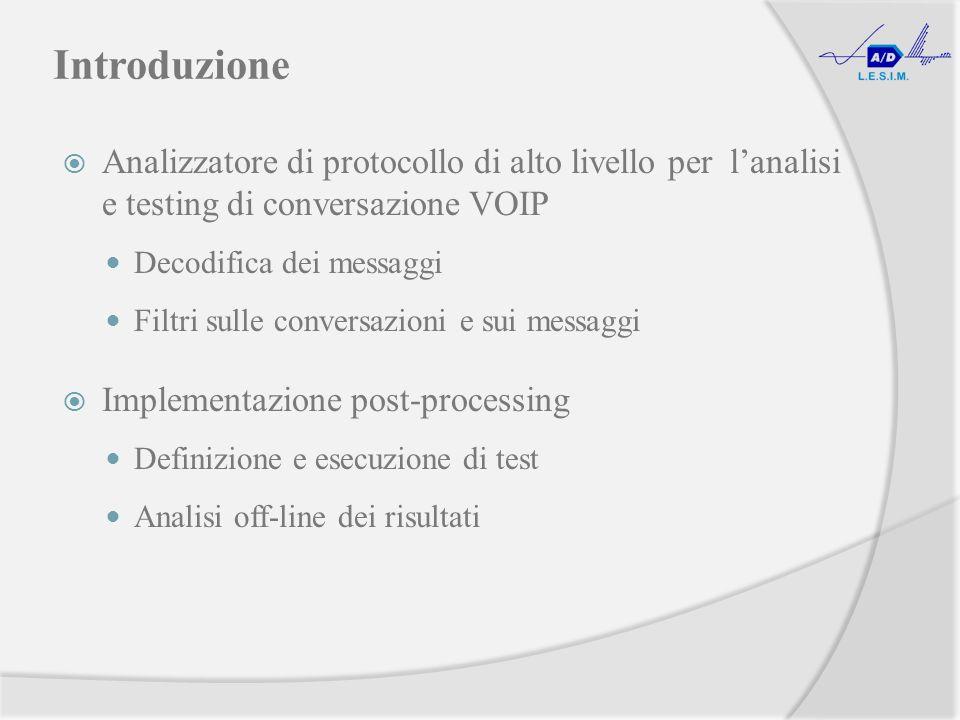 Introduzione Analizzatore di protocollo di alto livello per lanalisi e testing di conversazione VOIP Decodifica dei messaggi Filtri sulle conversazioni e sui messaggi Implementazione post-processing Definizione e esecuzione di test Analisi off-line dei risultati