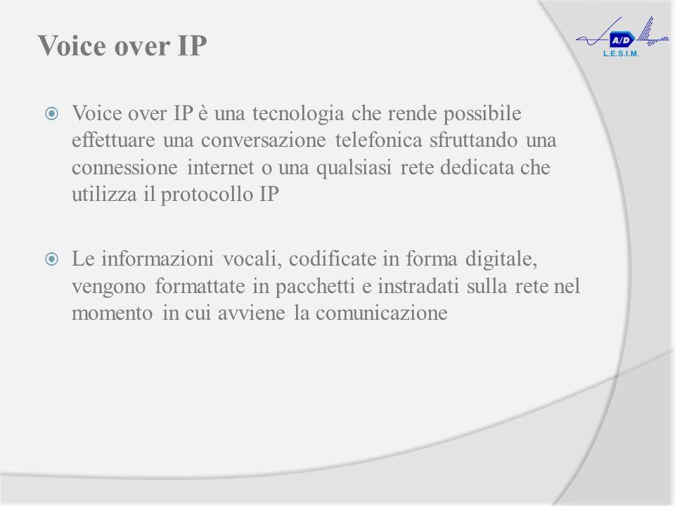 Voice over IP Voice over IP è una tecnologia che rende possibile effettuare una conversazione telefonica sfruttando una connessione internet o una qualsiasi rete dedicata che utilizza il protocollo IP Le informazioni vocali, codificate in forma digitale, vengono formattate in pacchetti e instradati sulla rete nel momento in cui avviene la comunicazione