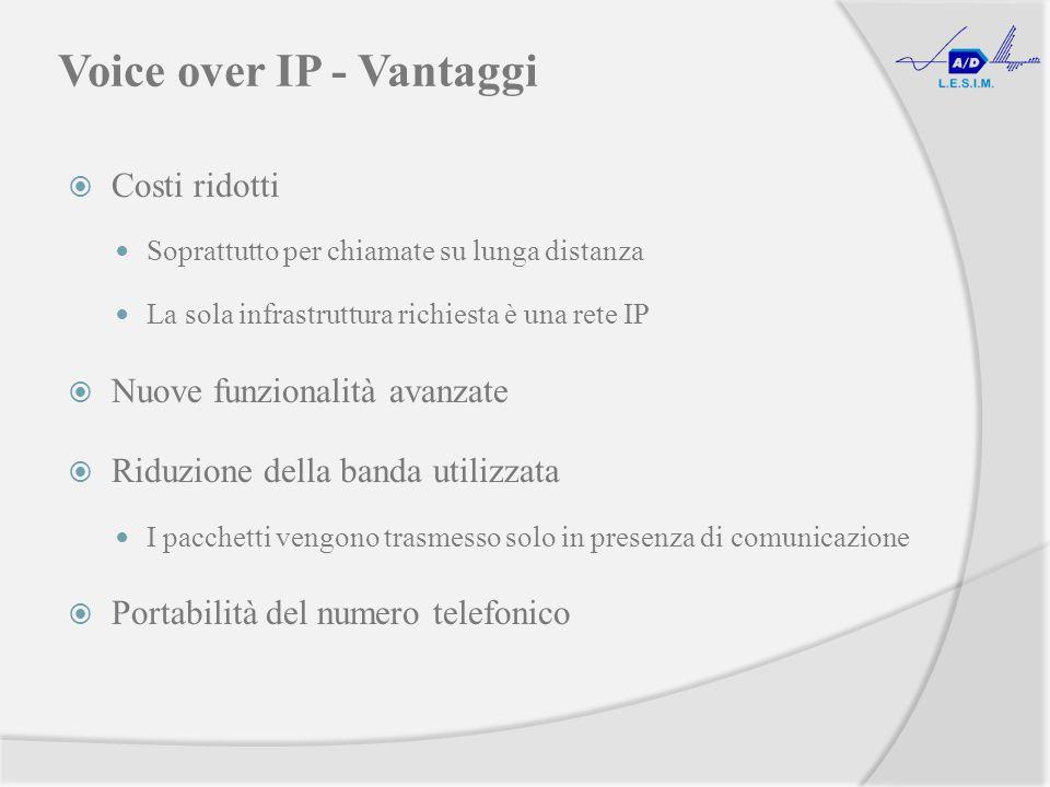 Voice over IP - Vantaggi Costi ridotti Soprattutto per chiamate su lunga distanza La sola infrastruttura richiesta è una rete IP Nuove funzionalità avanzate Riduzione della banda utilizzata I pacchetti vengono trasmesso solo in presenza di comunicazione Portabilità del numero telefonico