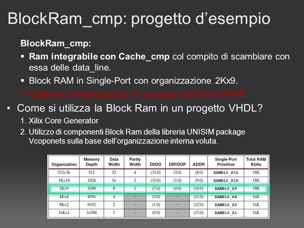 BlockRam_cmp: progetto desempio BlockRam_cmp: Ram integrabile con Cache_cmp col compito di scambiare con essa delle data_line.