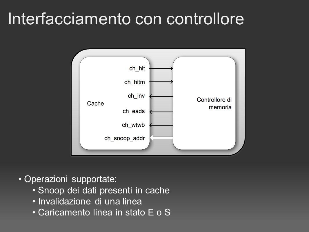 Interfacciamento con controllore Operazioni supportate: Snoop dei dati presenti in cache Invalidazione di una linea Caricamento linea in stato E o S