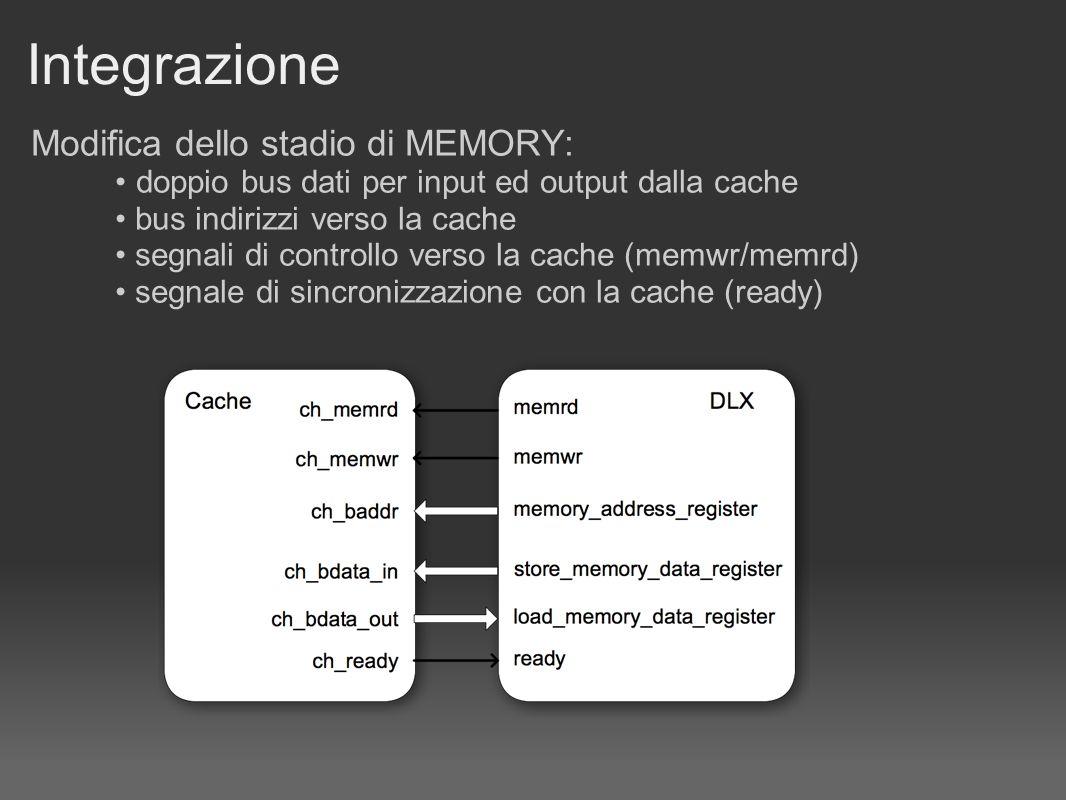 Integrazione Modifica dello stadio di MEMORY: doppio bus dati per input ed output dalla cache bus indirizzi verso la cache segnali di controllo verso
