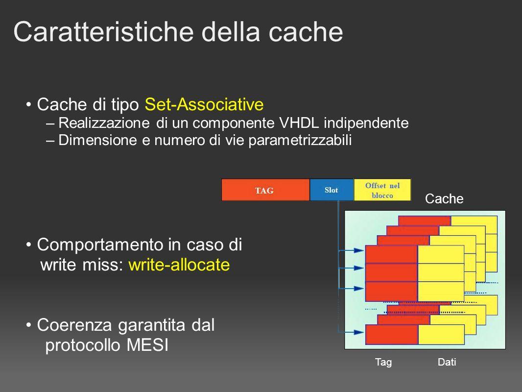 Caratteristiche della cache Cache di tipo Set-Associative – Realizzazione di un componente VHDL indipendente – Dimensione e numero di vie parametrizzabili Comportamento in caso di write miss: write-allocate Coerenza garantita dal protocollo MESI Cache TagDati