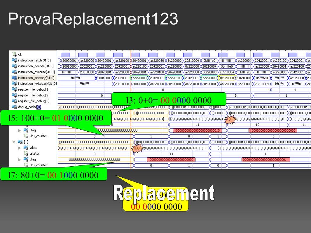 ProvaReplacement123 l3: 0+0= 00 0000 0000 l5: 100+0= 01 0000 0000 l7: 80+0= 00 1000 0000 l8: 0+0= 00 0000 0000